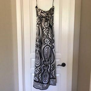Strapless silk evening gown